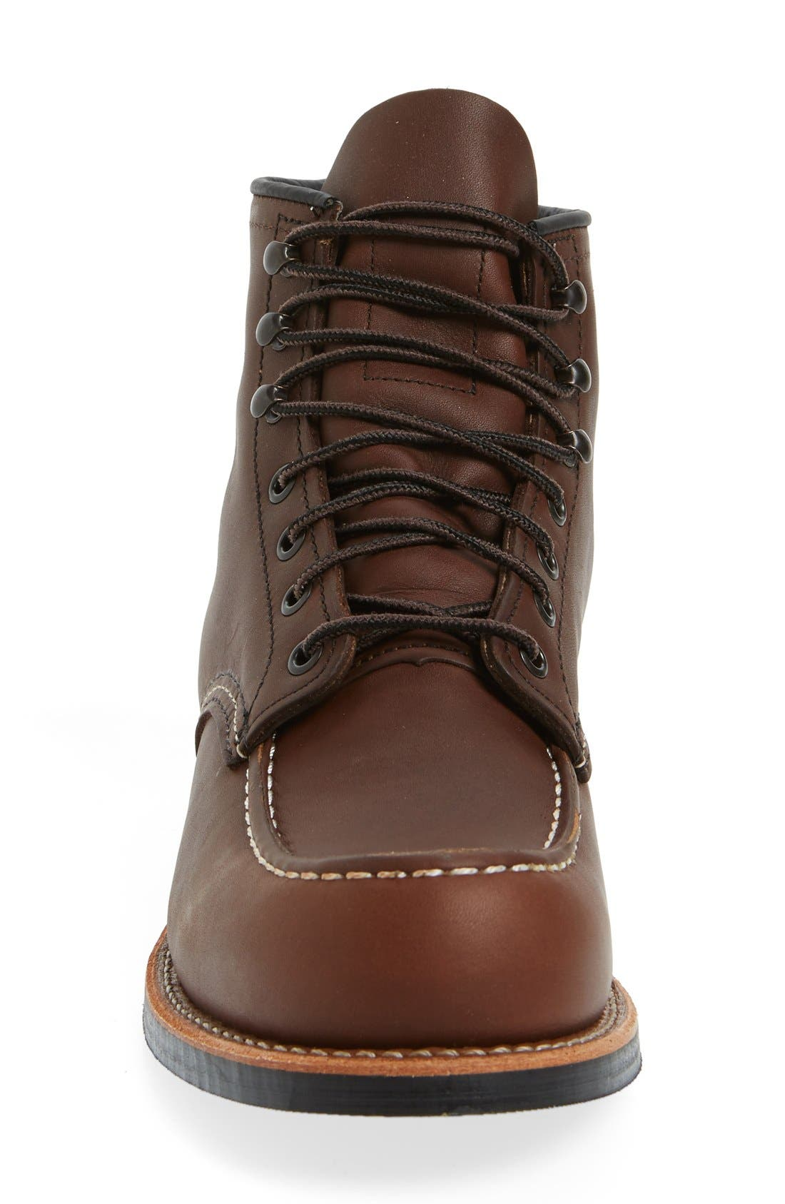 'Cooper' Moc Toe Boot,                             Alternate thumbnail 3, color,                             Amber Leather