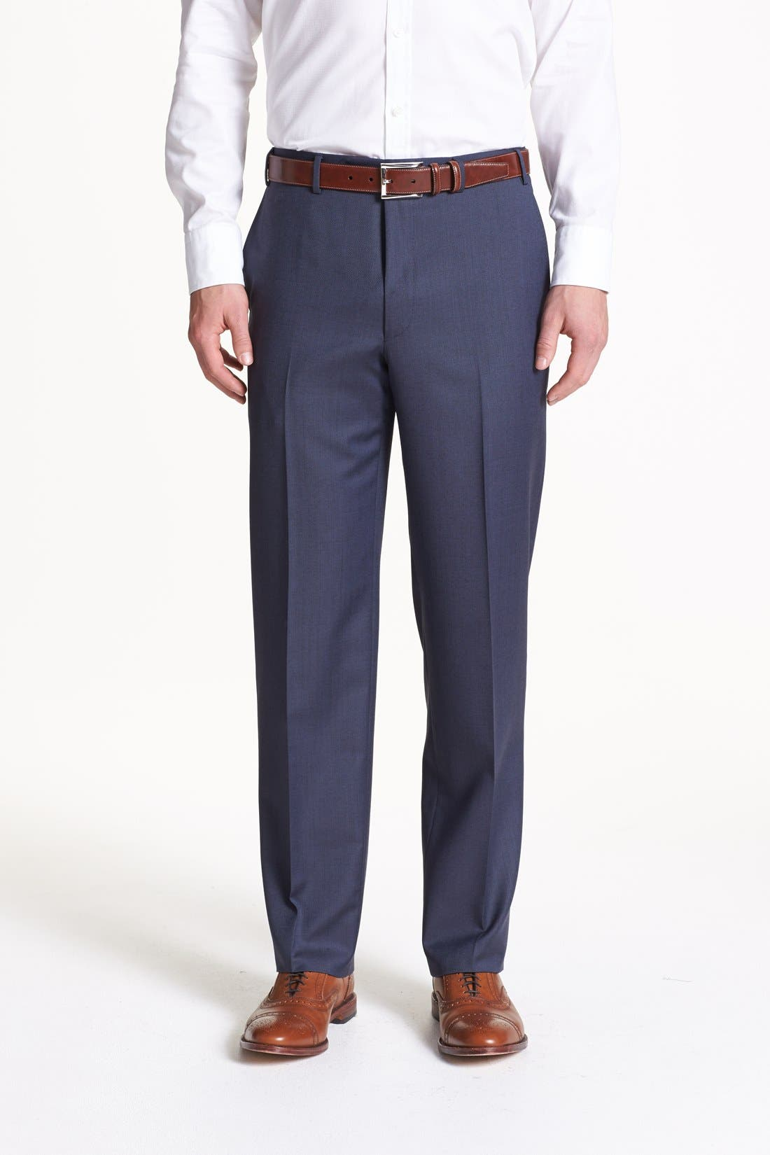 Flat Front Wool Trousers,                         Main,                         color, Blue
