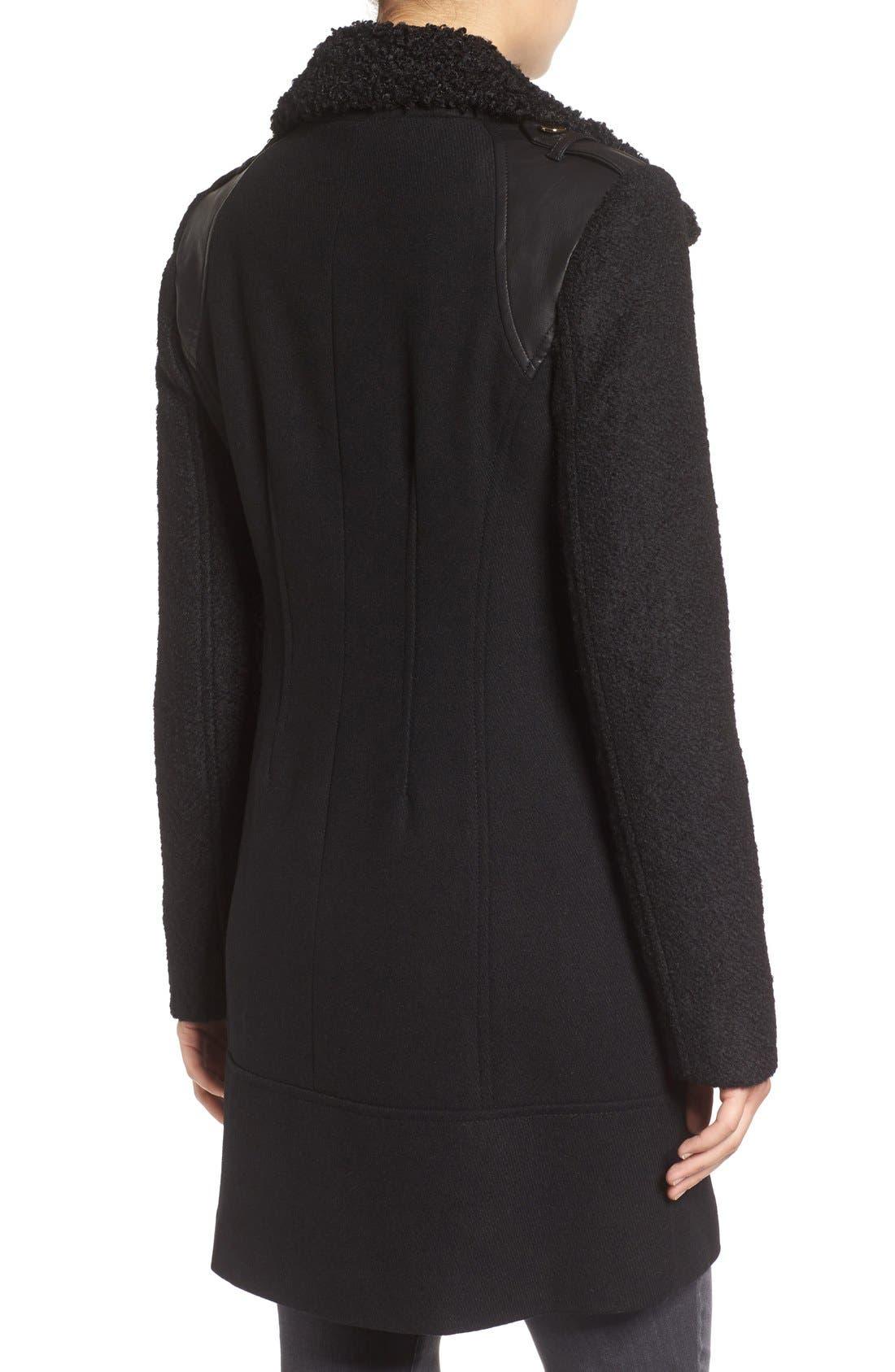 Bouclé Sleeve Wool Blend Military Coat,                             Alternate thumbnail 2, color,                             Black
