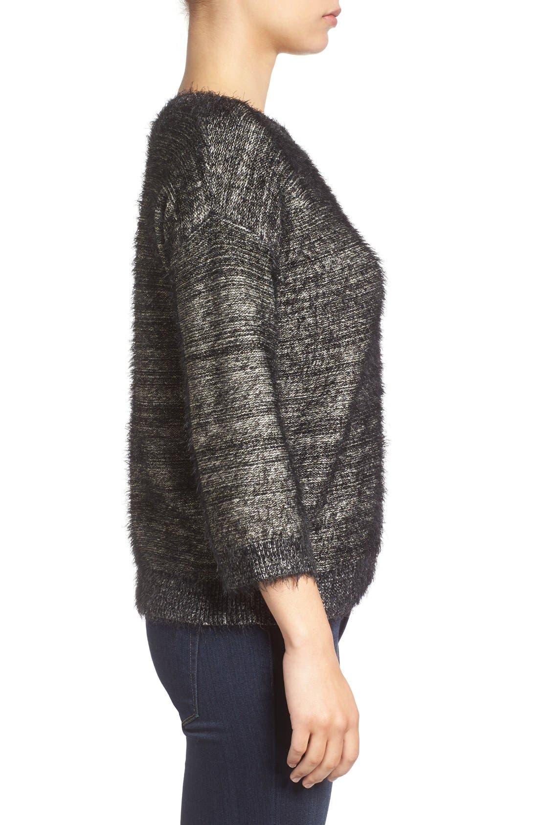 Alternate Image 3  - Halogen® Metallic Eyelash Knit Sweater