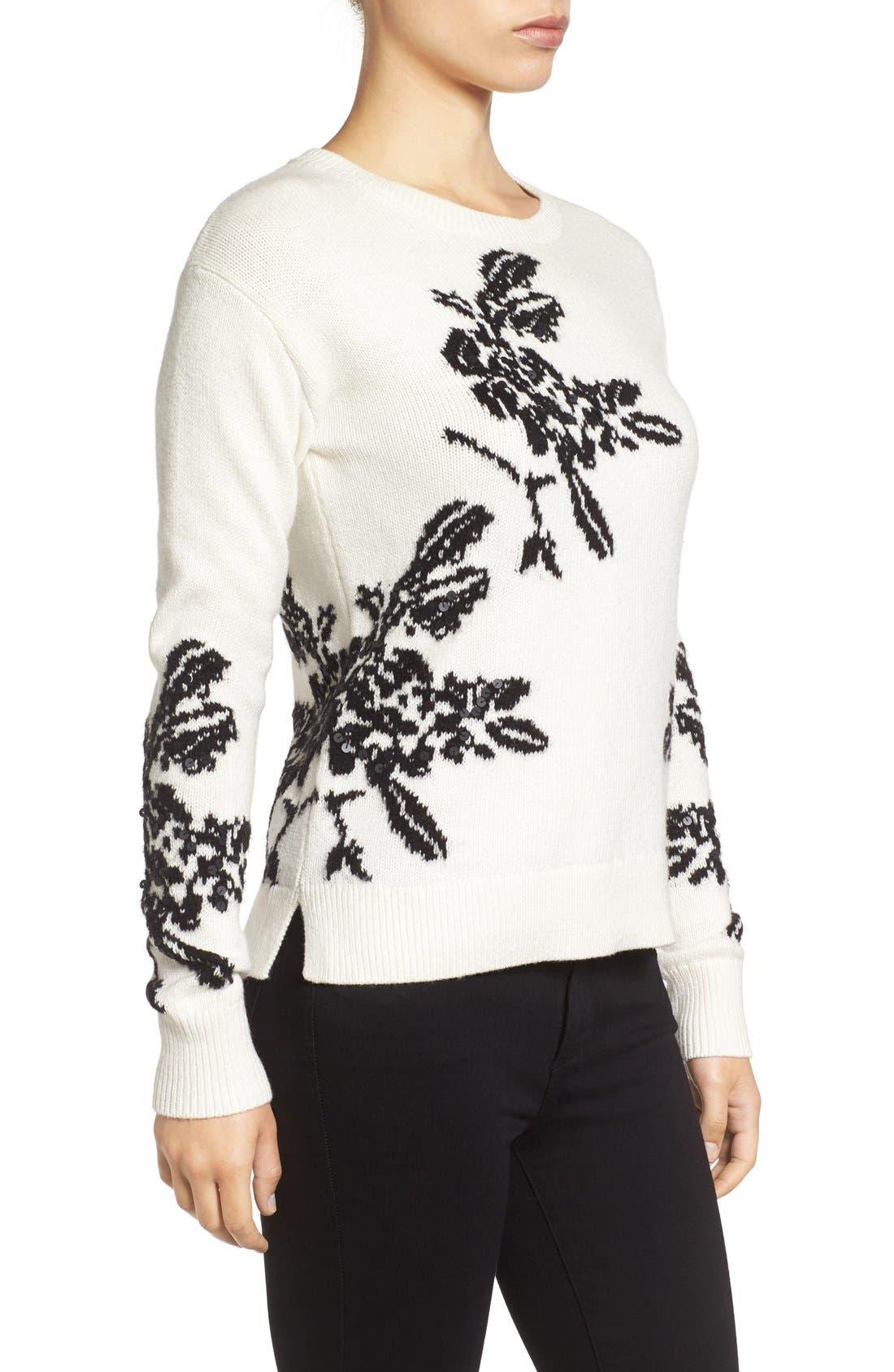 Alternate Image 3  - Halogen® Floral Intarsia Knit Sweater