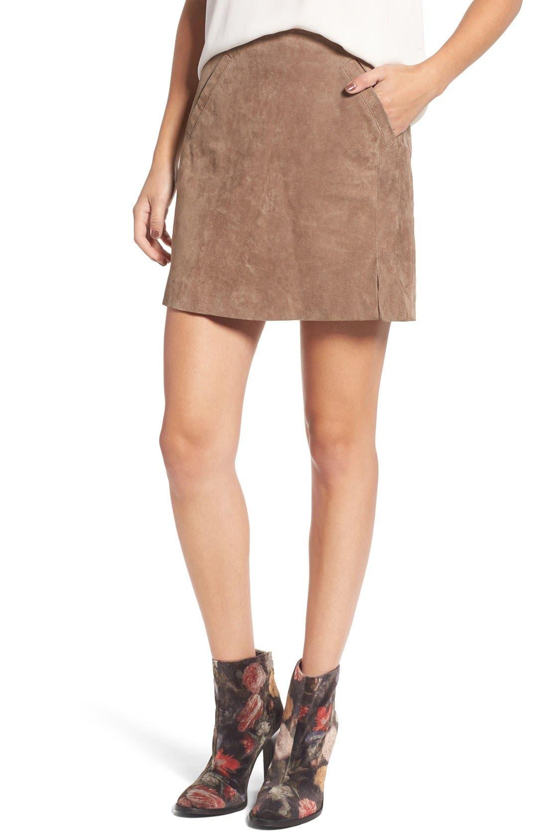 Suede Miniskirt,                         Main,                         color, Midnight Token