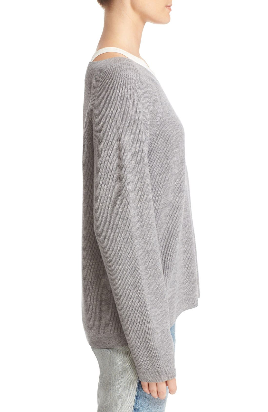 Alternate Image 3  - T by Alexander Wang Layered Merino Wool Pullover