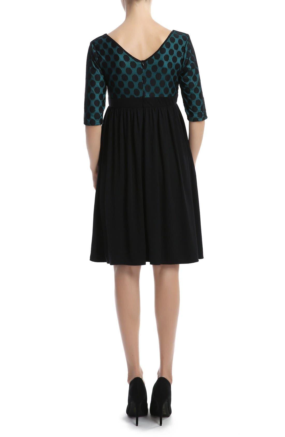 'Charlie' Maternity Dress,                             Alternate thumbnail 2, color,                             Black/ Teal