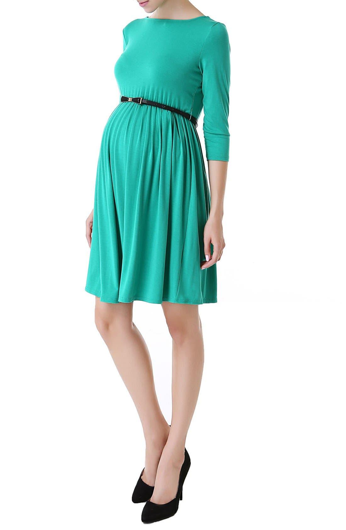 'Shannon' Maternity Dress,                             Alternate thumbnail 3, color,                             Emerald