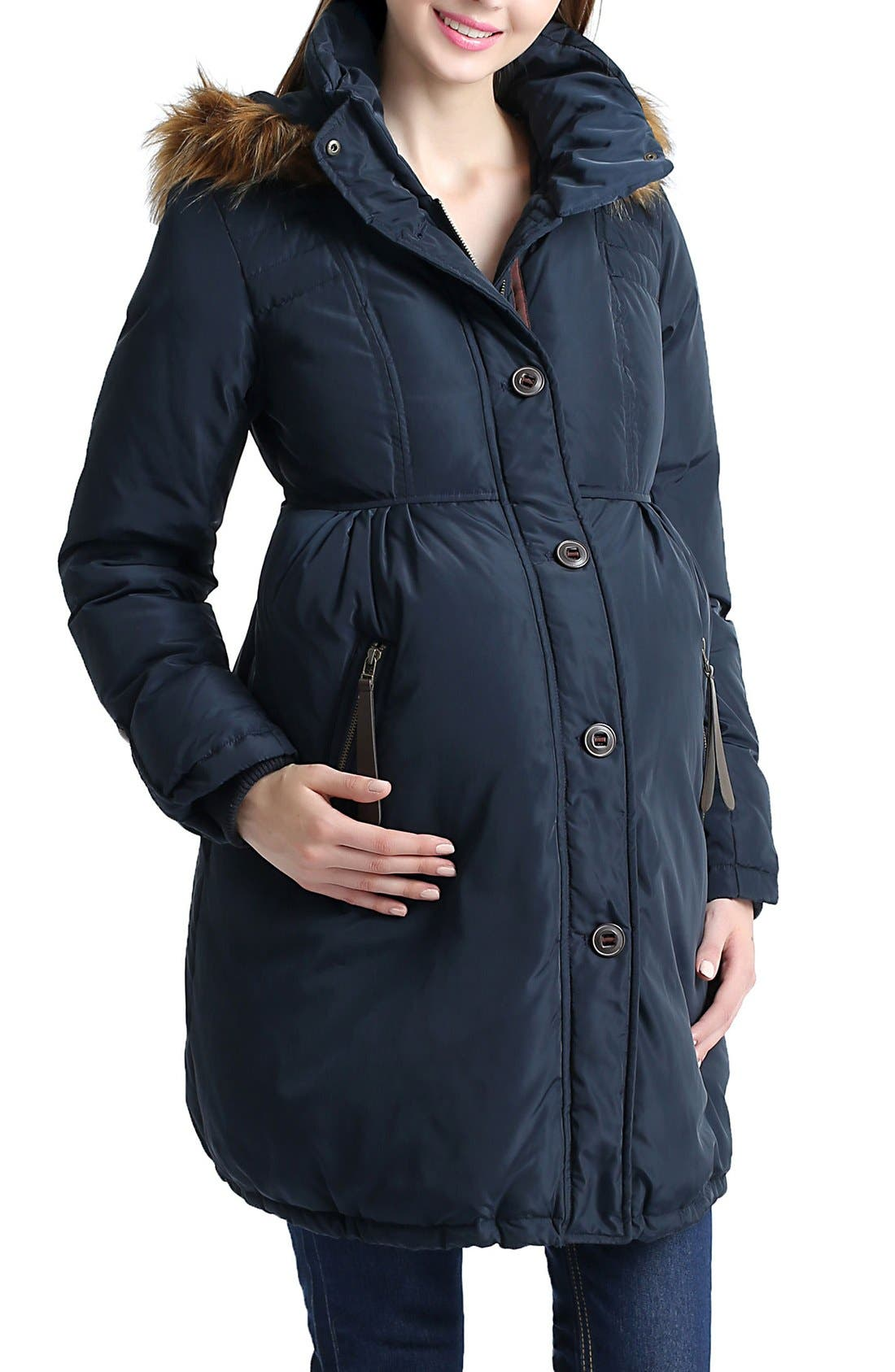 Lizzy Water Resistant Down Maternity Parka,                             Main thumbnail 1, color,                             Navy