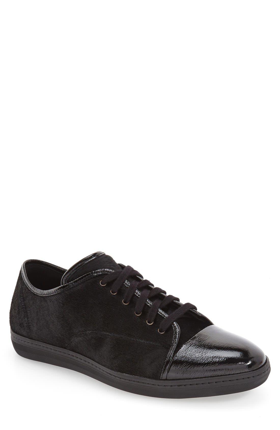 'Scala' Genuine Calf Hair Sneaker,                             Main thumbnail 1, color,                             Black