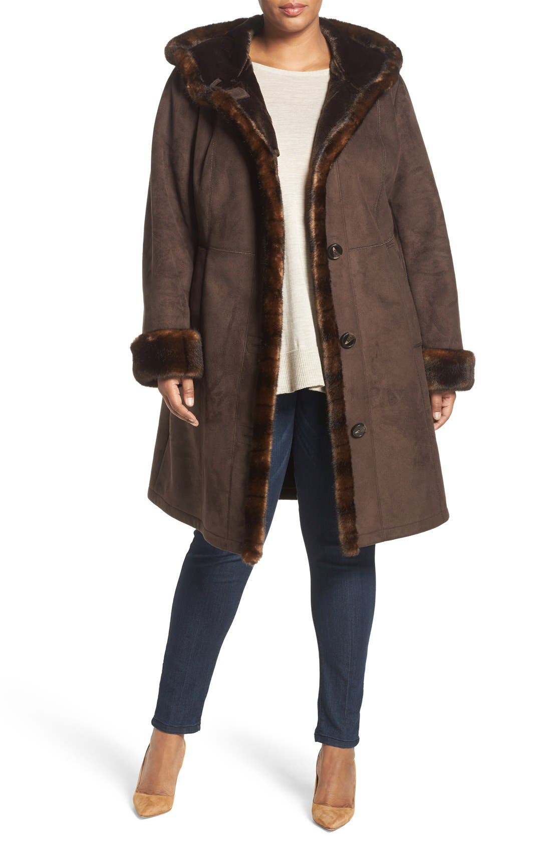 Faux Shearling A-Line Coat,                         Main,                         color, Chocolate
