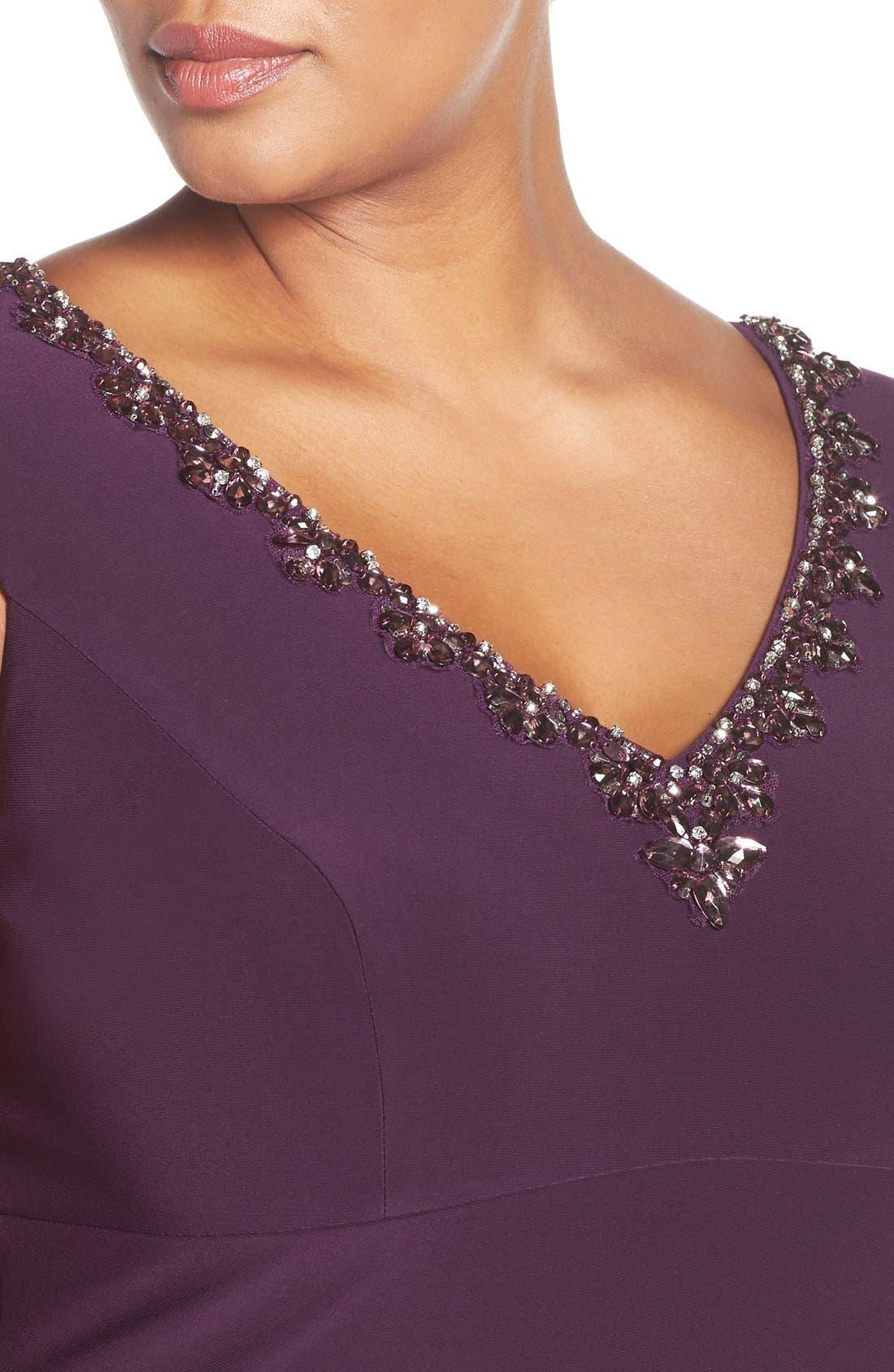 Embellished V-Neck Side Drape Jersey Gown,                             Alternate thumbnail 5, color,                             Eggplant