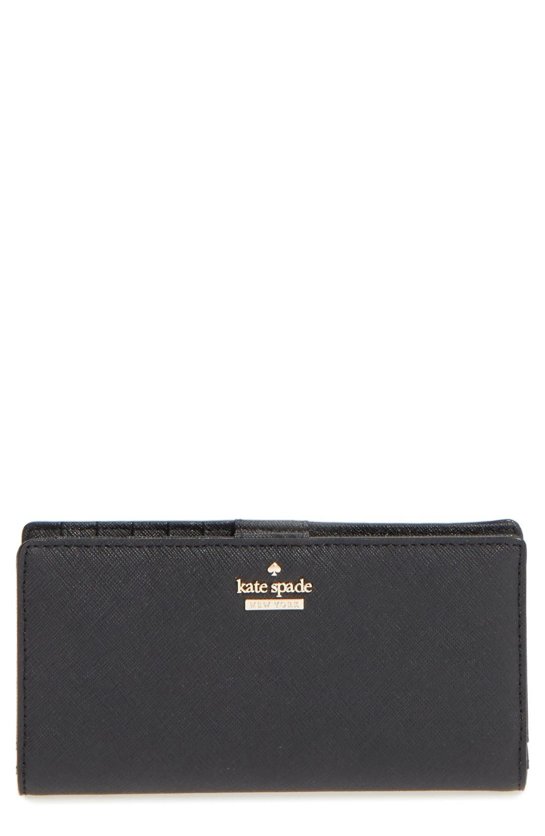 'cameron street - stacy' textured leather wallet,                             Main thumbnail 1, color,                             Black