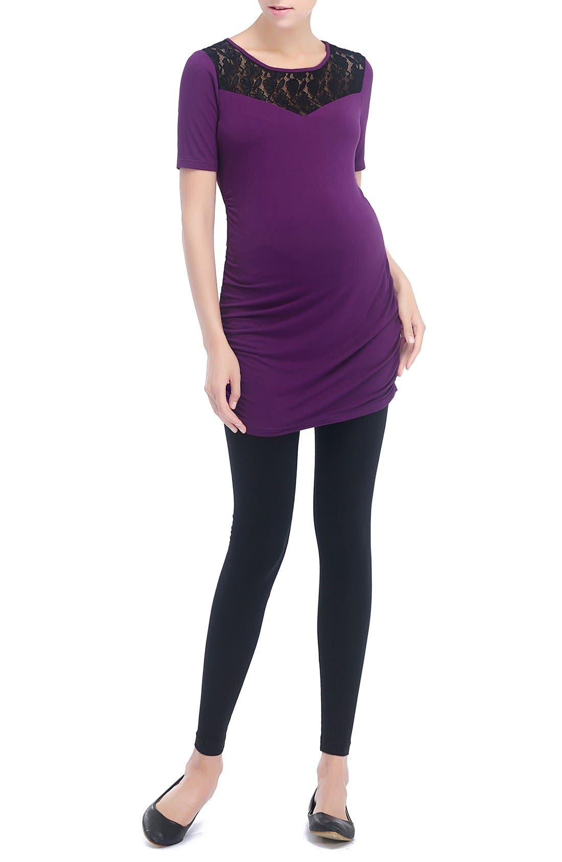 'Alden' Floral Lace Jersey Maternity Top,                             Alternate thumbnail 2, color,                             Purple