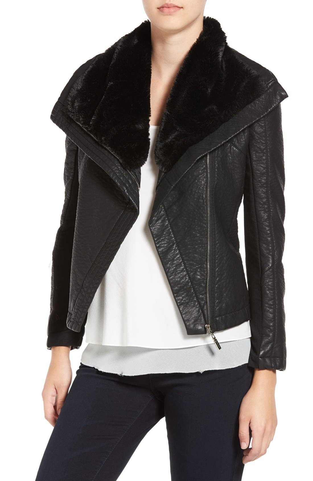 Faux Leather Jacket with Faux Shearling Trim,                         Main,                         color, Black