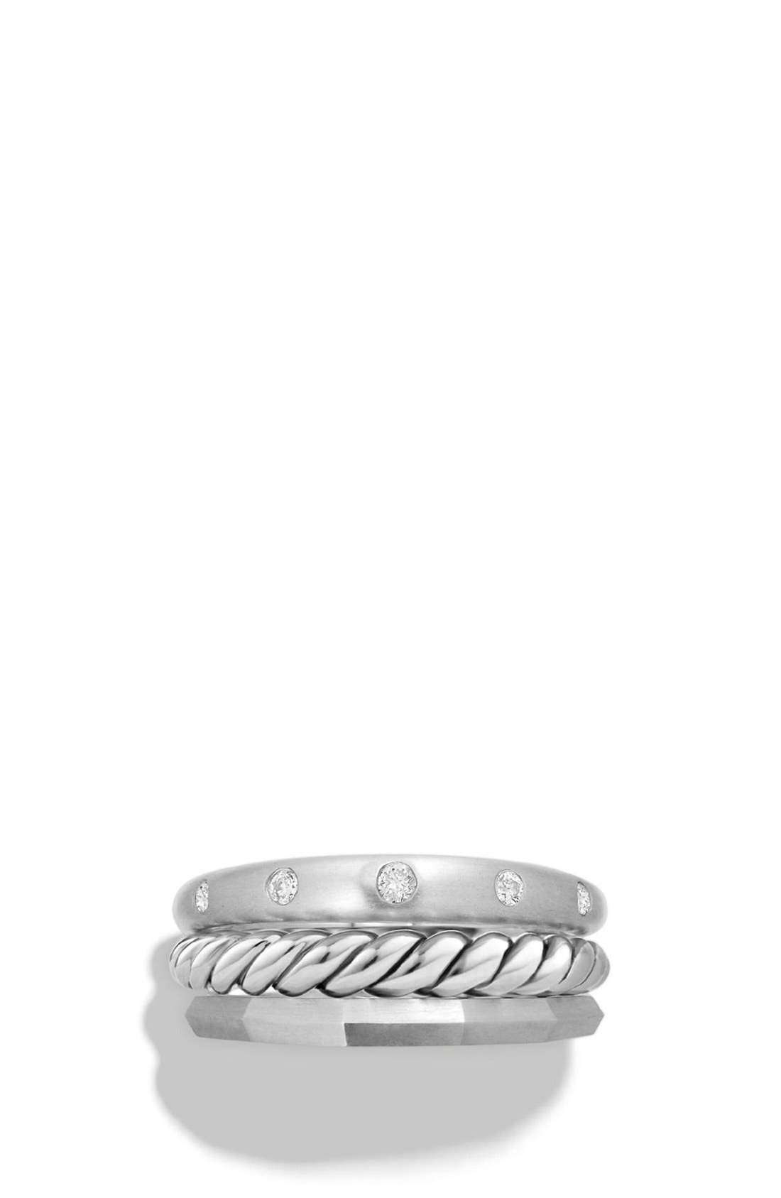 'Stax' Ring with Diamonds,                             Alternate thumbnail 3, color,                             Silver