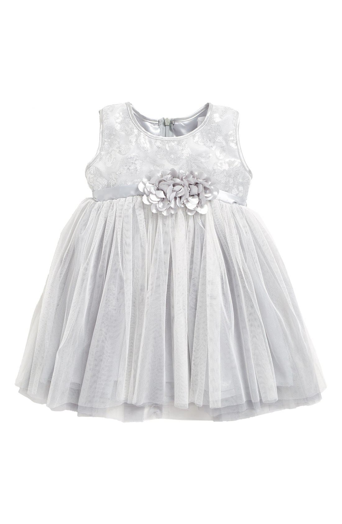 Empire Waist Tulle Dress,                         Main,                         color, Silver