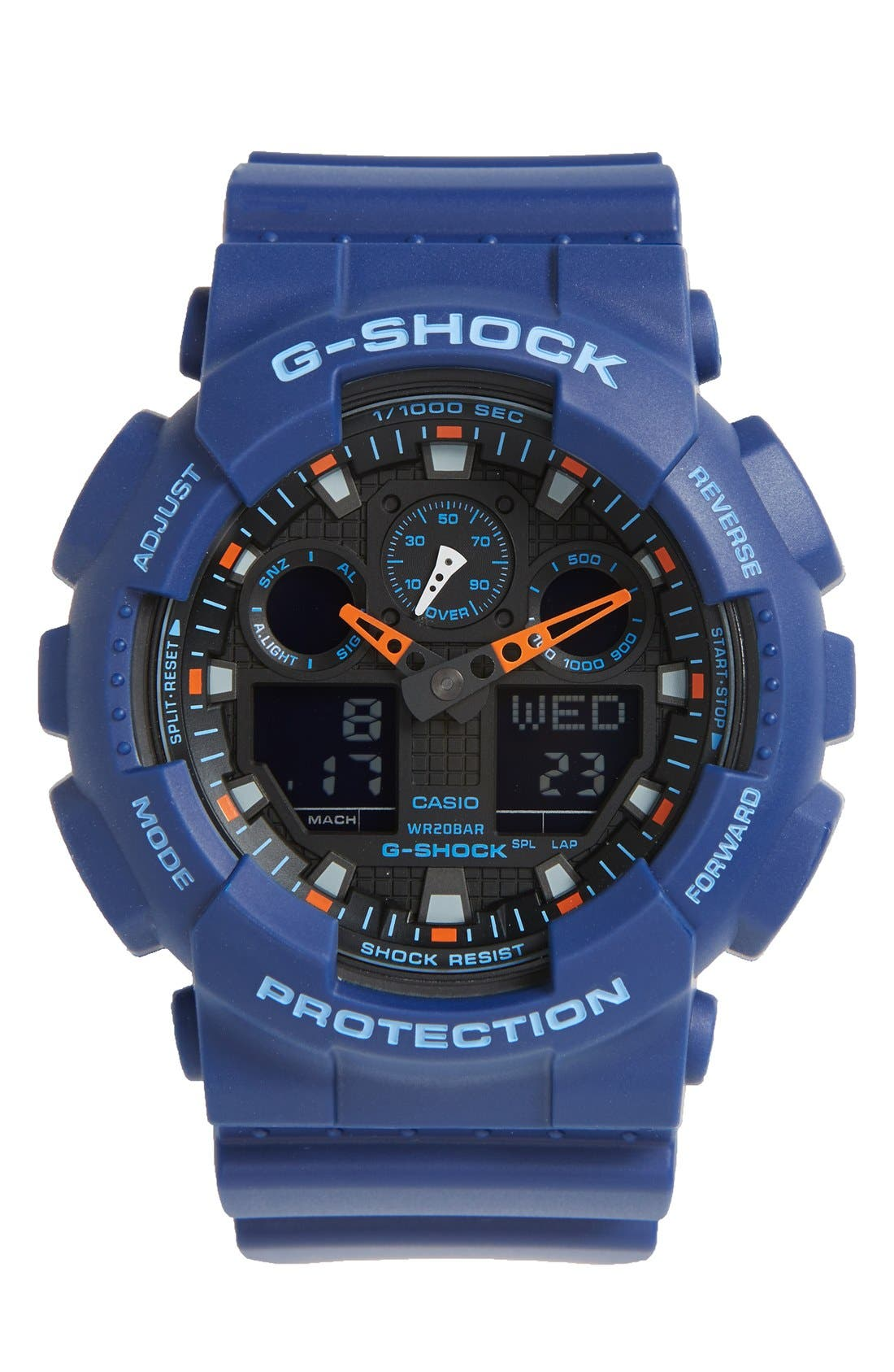 G-Shock 'Big Combi' Watch, 55mm x 51mm,                         Main,                         color, Blue