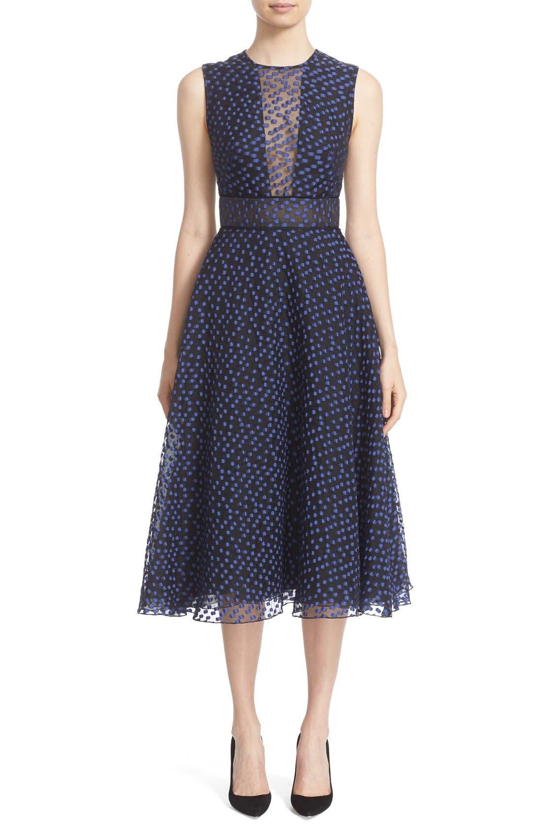 Alternate Image 1 Selected - Lela Rose Dotted Organza Fit & Flare Midi Dress