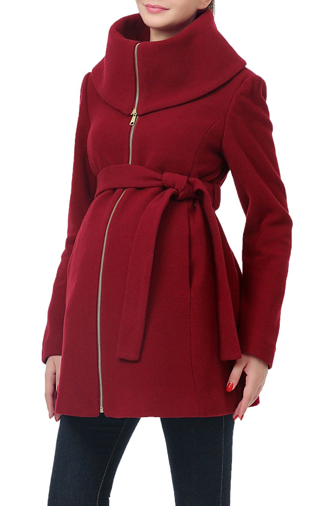 'Mia' High Collar Maternity Coat,                             Alternate thumbnail 4, color,                             Wine
