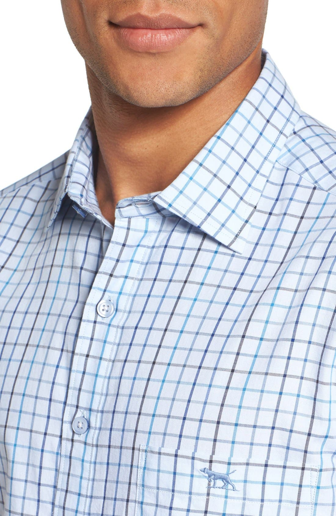'Lyford' Sports Fit Check Sport Shirt,                             Alternate thumbnail 4, color,                             Sky