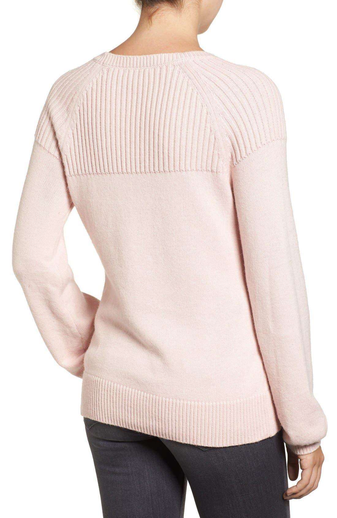 Alternate Image 3  - Halogen® Ribbed Yoke Pullover (Regular & Petite)