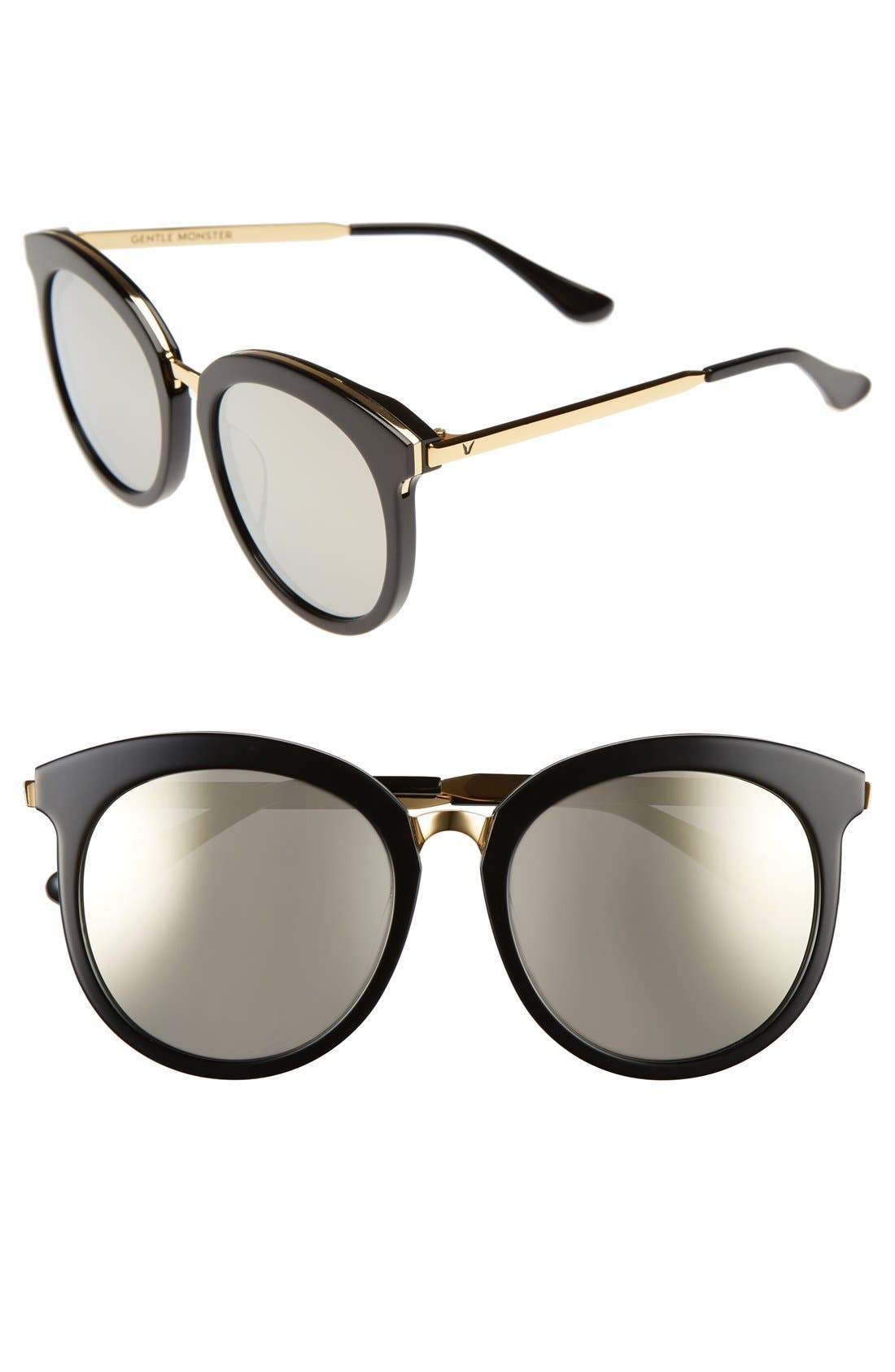 56mm Round Sunglasses,                             Main thumbnail 1, color,                             Black/ Gold