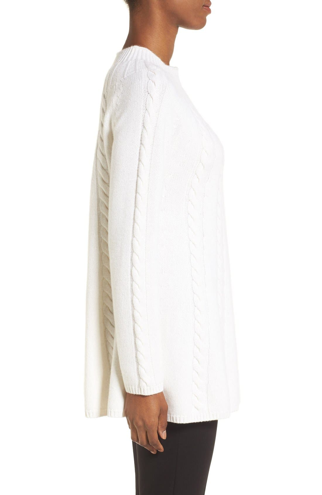 Alternate Image 3  - Nordstrom Collection Cashmere Cable Knit A-Line Pullover