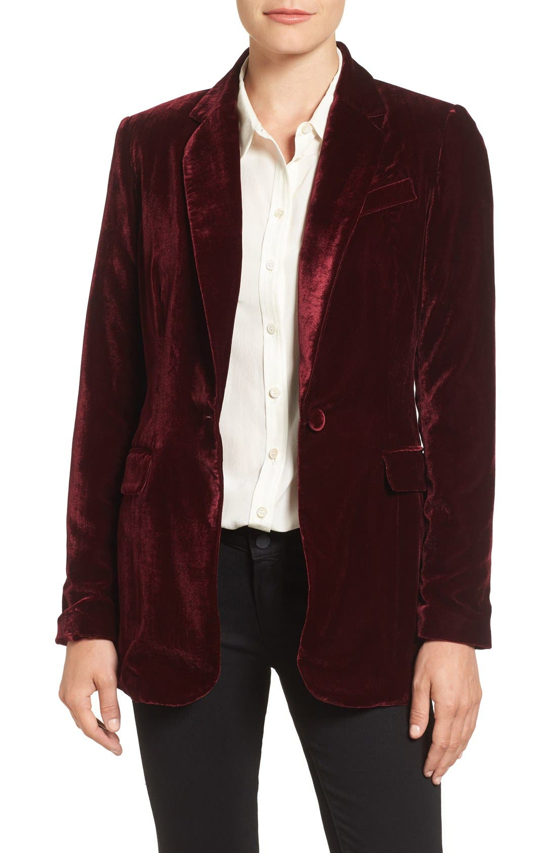 Alternate Image 1 Selected - Halogen® Velvet Blazer (Regular & Petite)