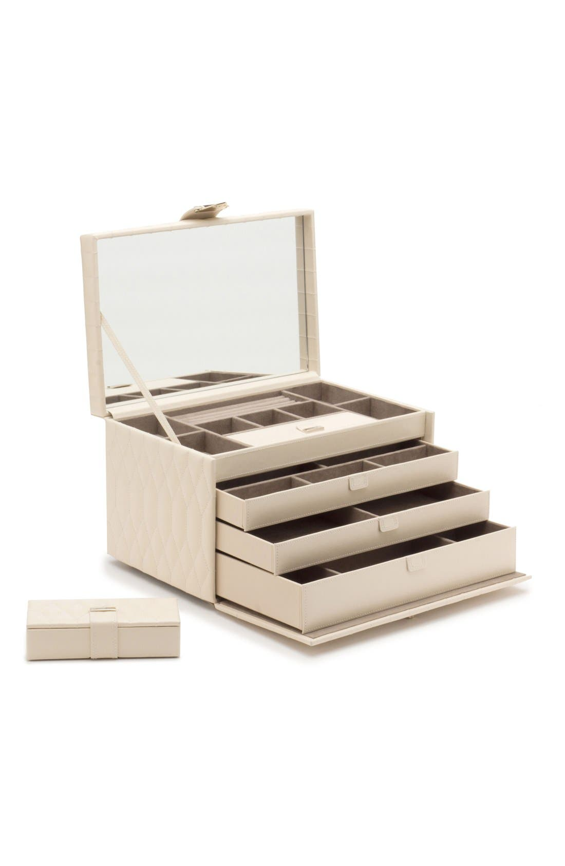 'Caroline' Jewelry Case,                             Alternate thumbnail 4, color,                             Ivory