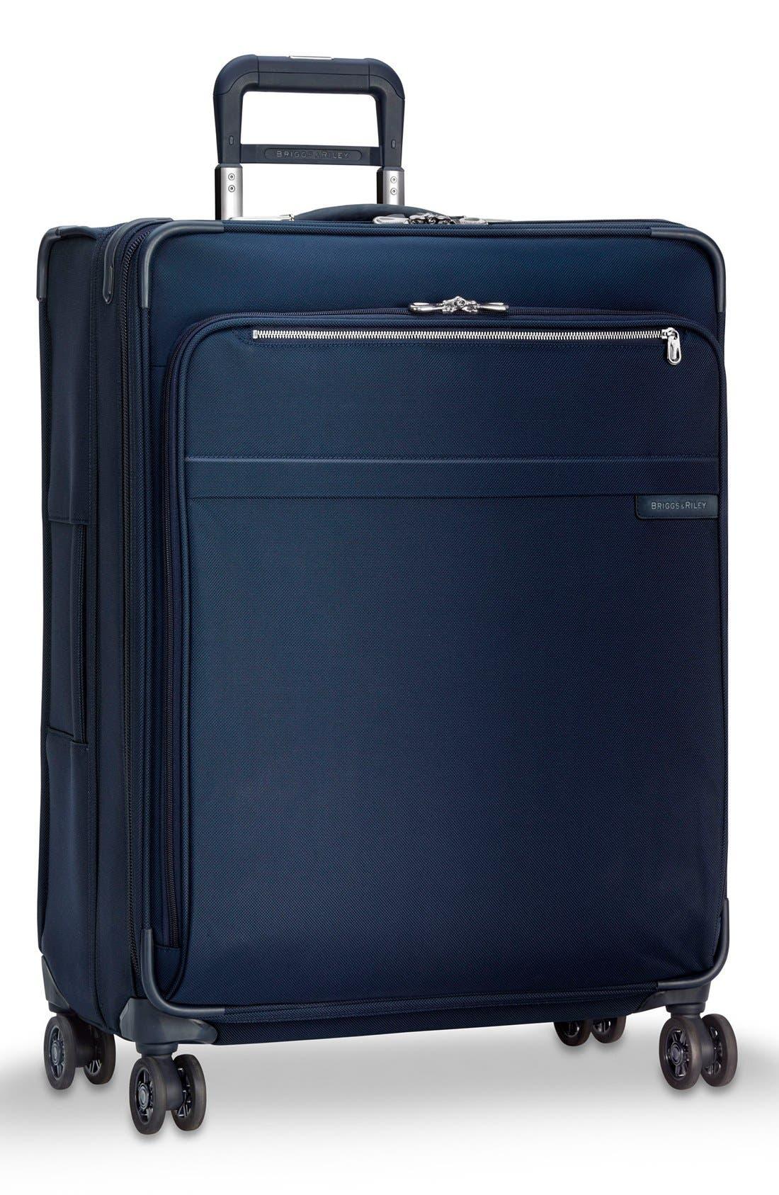 Baseline 28 Inch Expandable Rolling Suitcase,                             Alternate thumbnail 3, color,                             Navy
