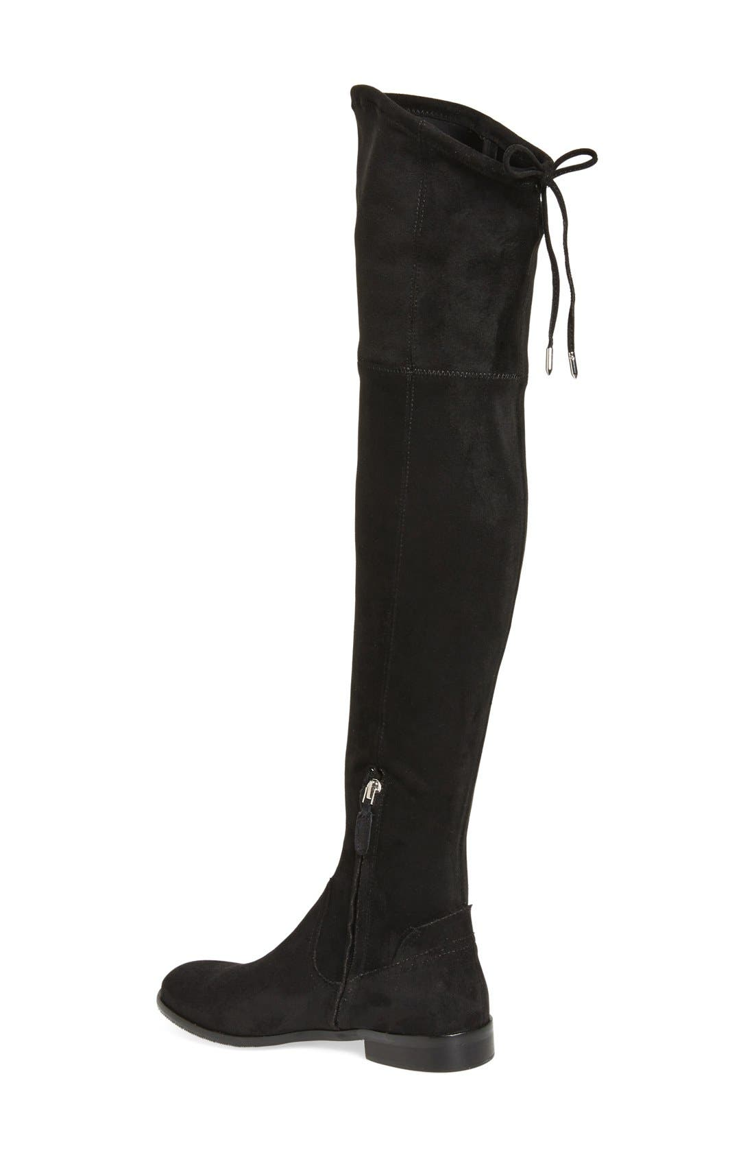 'Neely' Over the Knee Boot,                             Alternate thumbnail 2, color,                             Black Stretch Suede