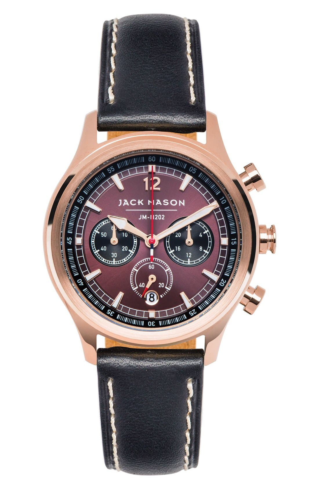 JACK MASON Nautical Chronograph Leather Strap Watch, 36mm
