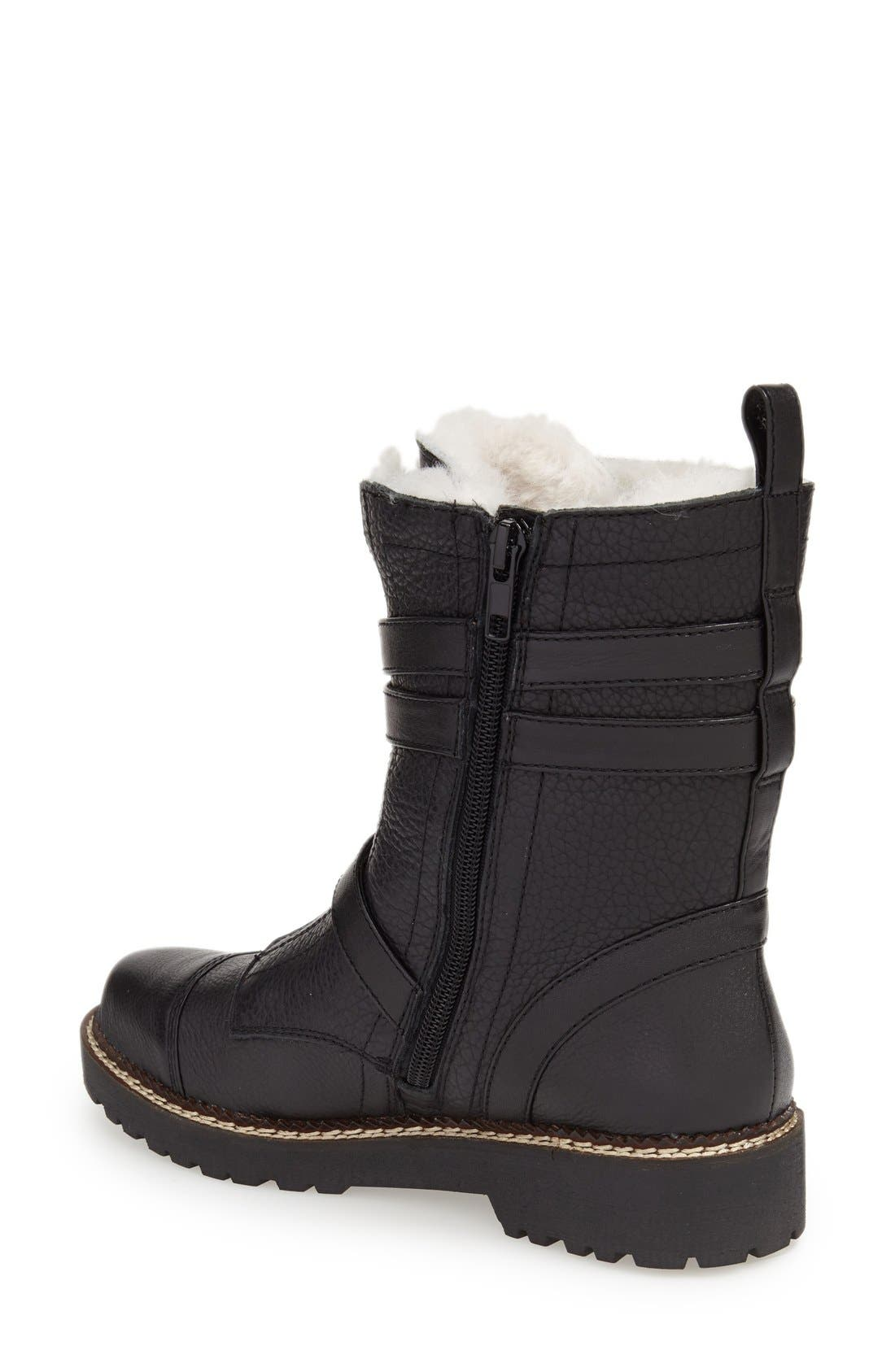 'Pelli' Genuine Shearling Lined Boot,                             Alternate thumbnail 2, color,                             Black Leather