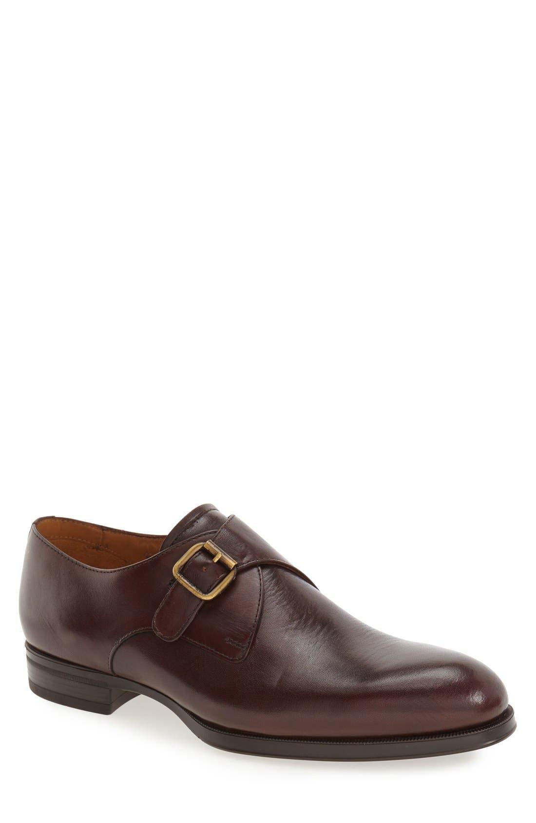'Trifolo' Monk Strap Shoe,                             Main thumbnail 1, color,                             Dark Woodbury Leather