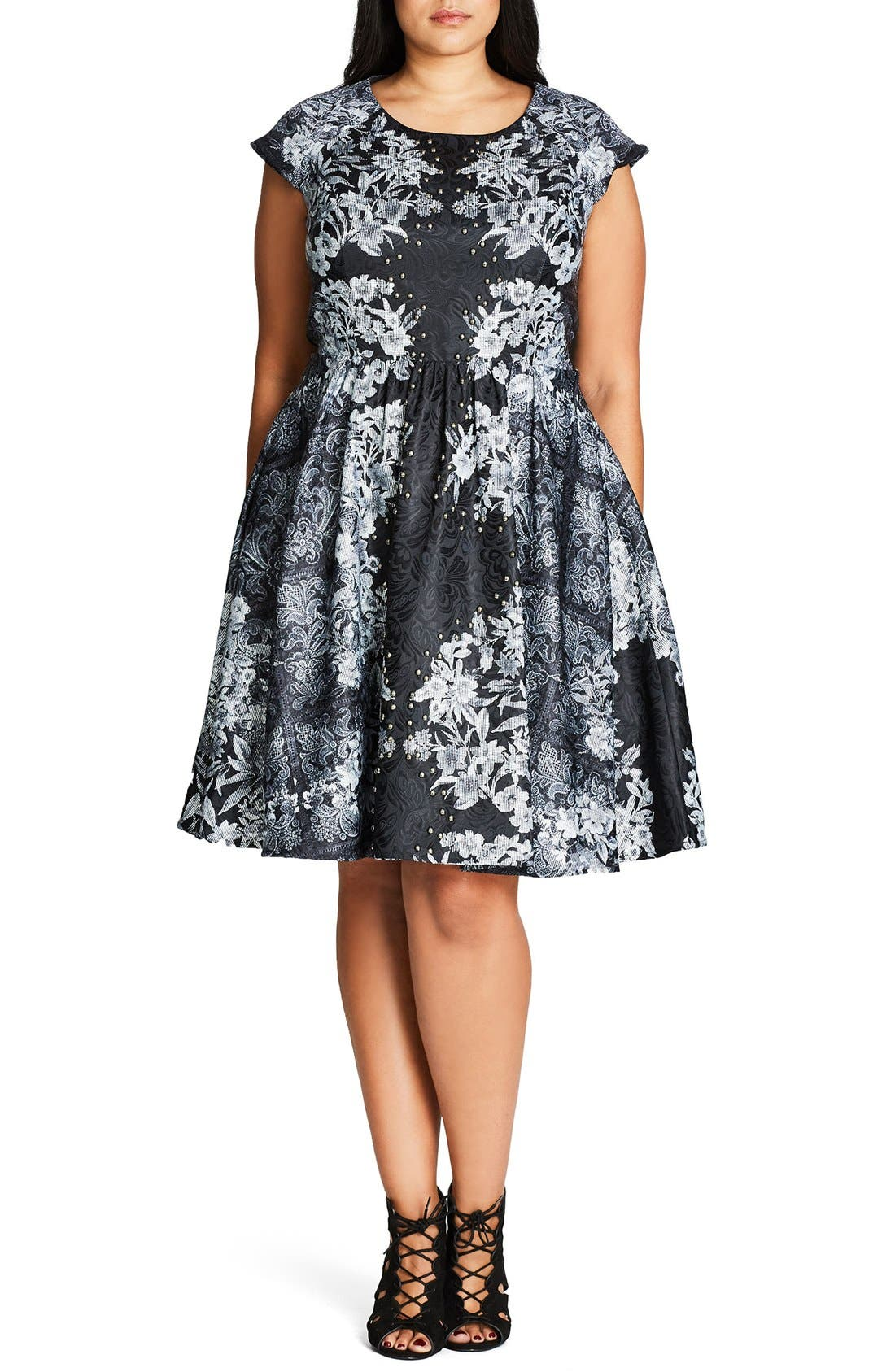 Alternate Image 1 Selected - City Chic 'Femme Royale' Fit & Flare Dress (Plus Size)