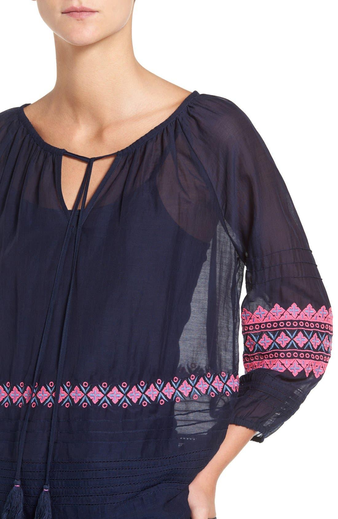 Alternate Image 4  - Vineyard Vines Embroidered Cotton & Silk Peasant Top