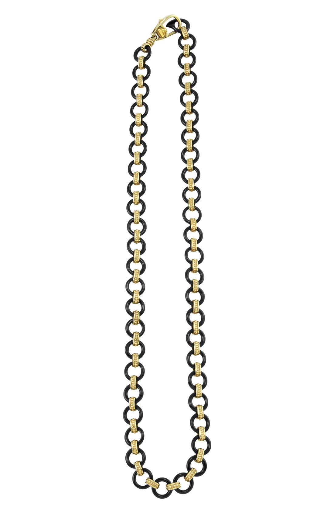 'Caviar Gold' Gold Link Necklace,                             Main thumbnail 1, color,                             Black Agate/ Gold