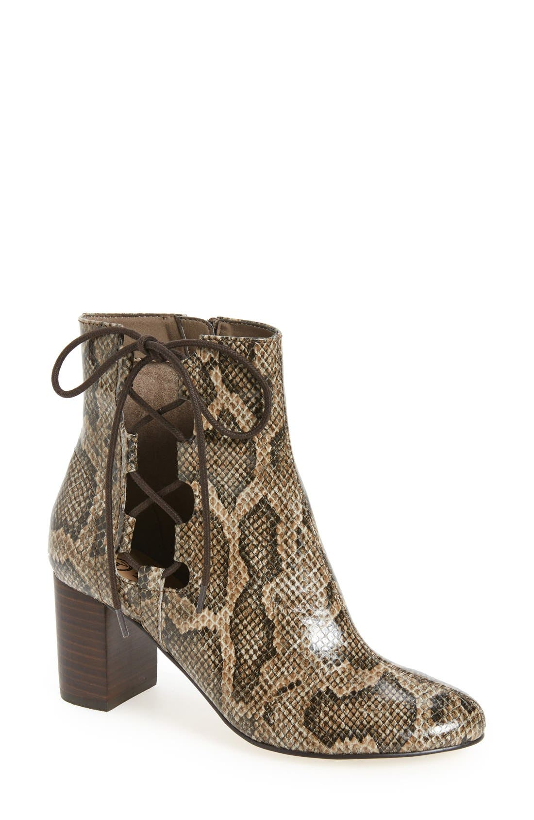 'Kirby' Bootie,                             Main thumbnail 1, color,                             Natural Snake Print Leather