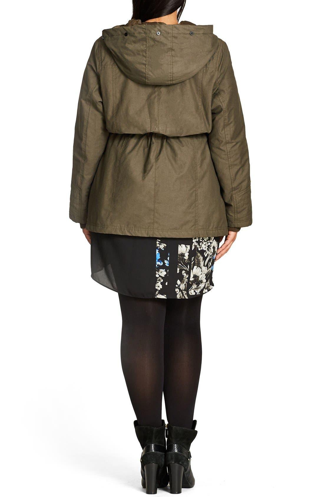 Alternate Image 2  - City Chic Faux Fur & Faux Leather Trim Hooded Drawstring Parka (Plus Size)