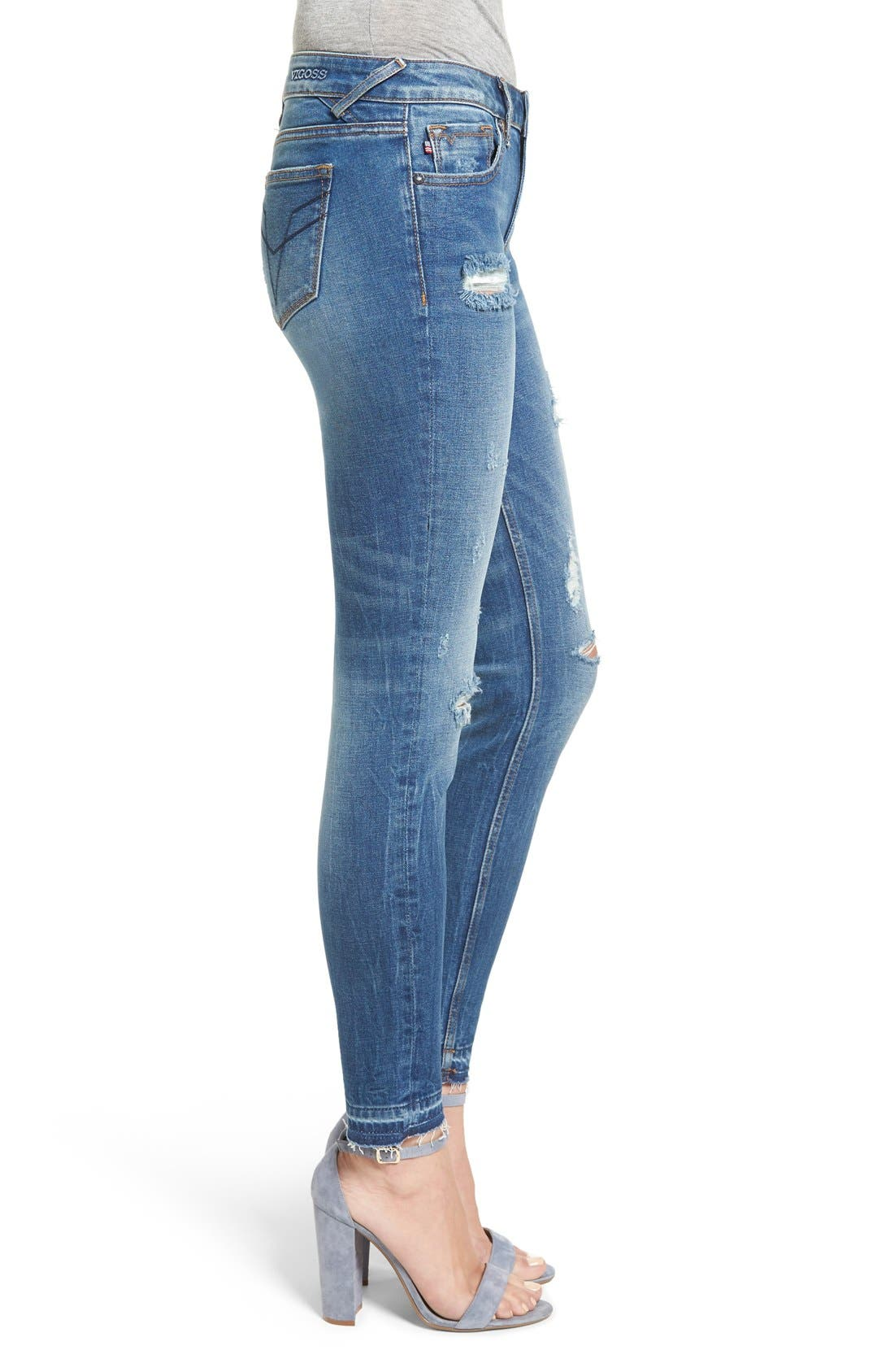 Alternate Image 3  - Vigoss 'Chelsea' Distressed Raw Hem Skinny Jeans