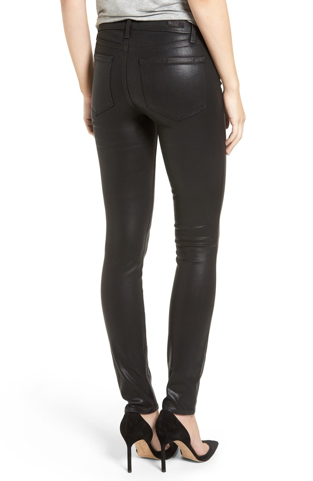 Alternate Image 2  - PAIGE Verdugo Coated Ankle Skinny Jeans (Black Fog Luxe Coated) (Nordstrom Exclusive)