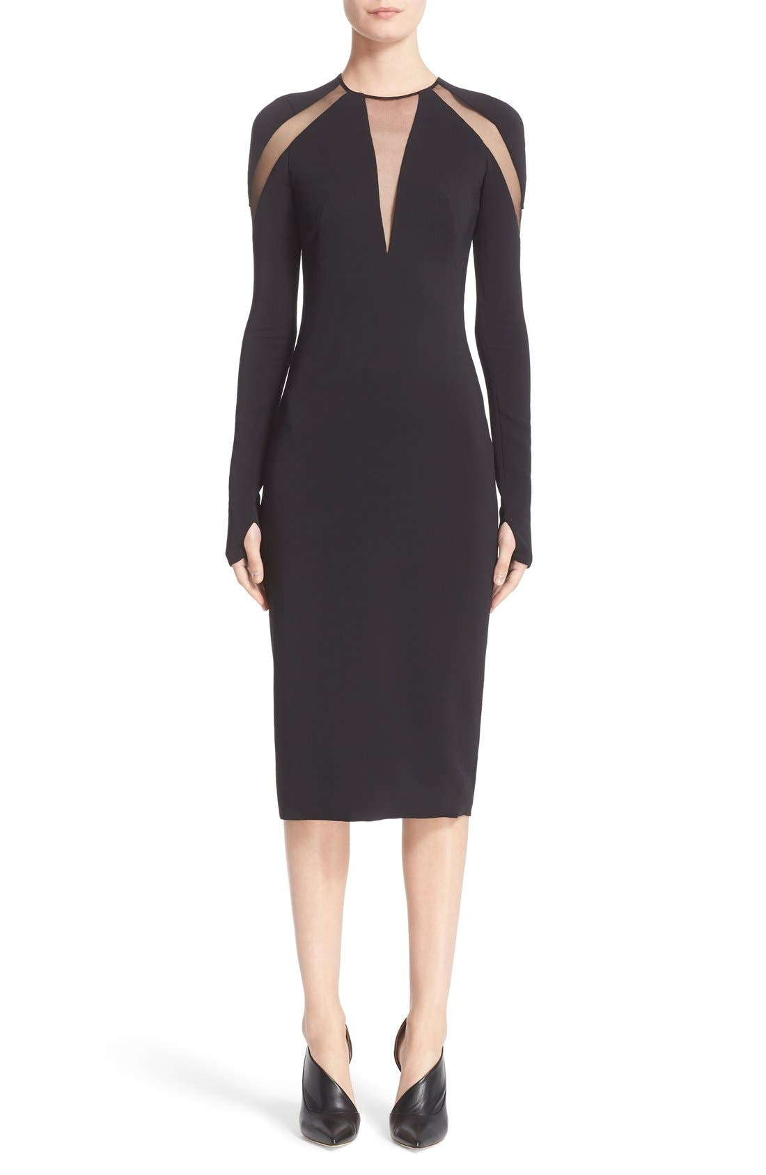 Pamella Roland Tulle Inset Long Sleeve Stretch Crepe Midi Dress