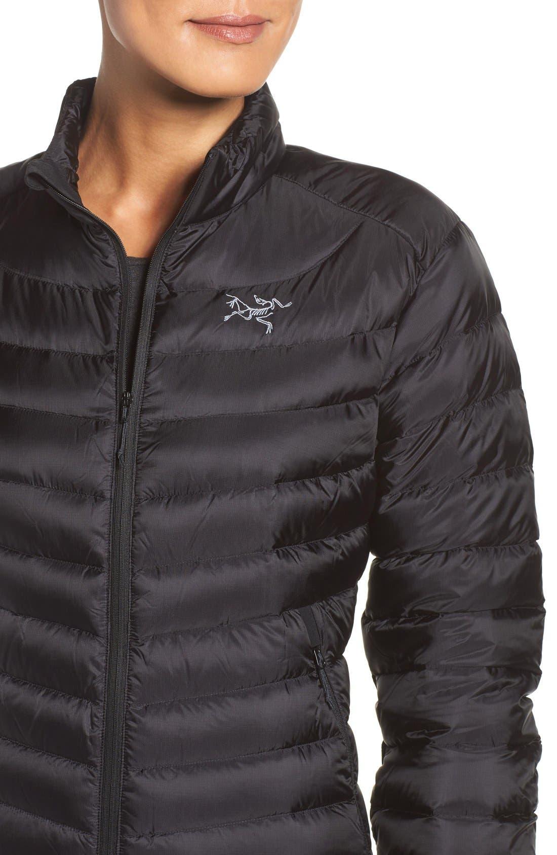 Cerium Water Resistant Down Jacket,                             Alternate thumbnail 4, color,                             Black