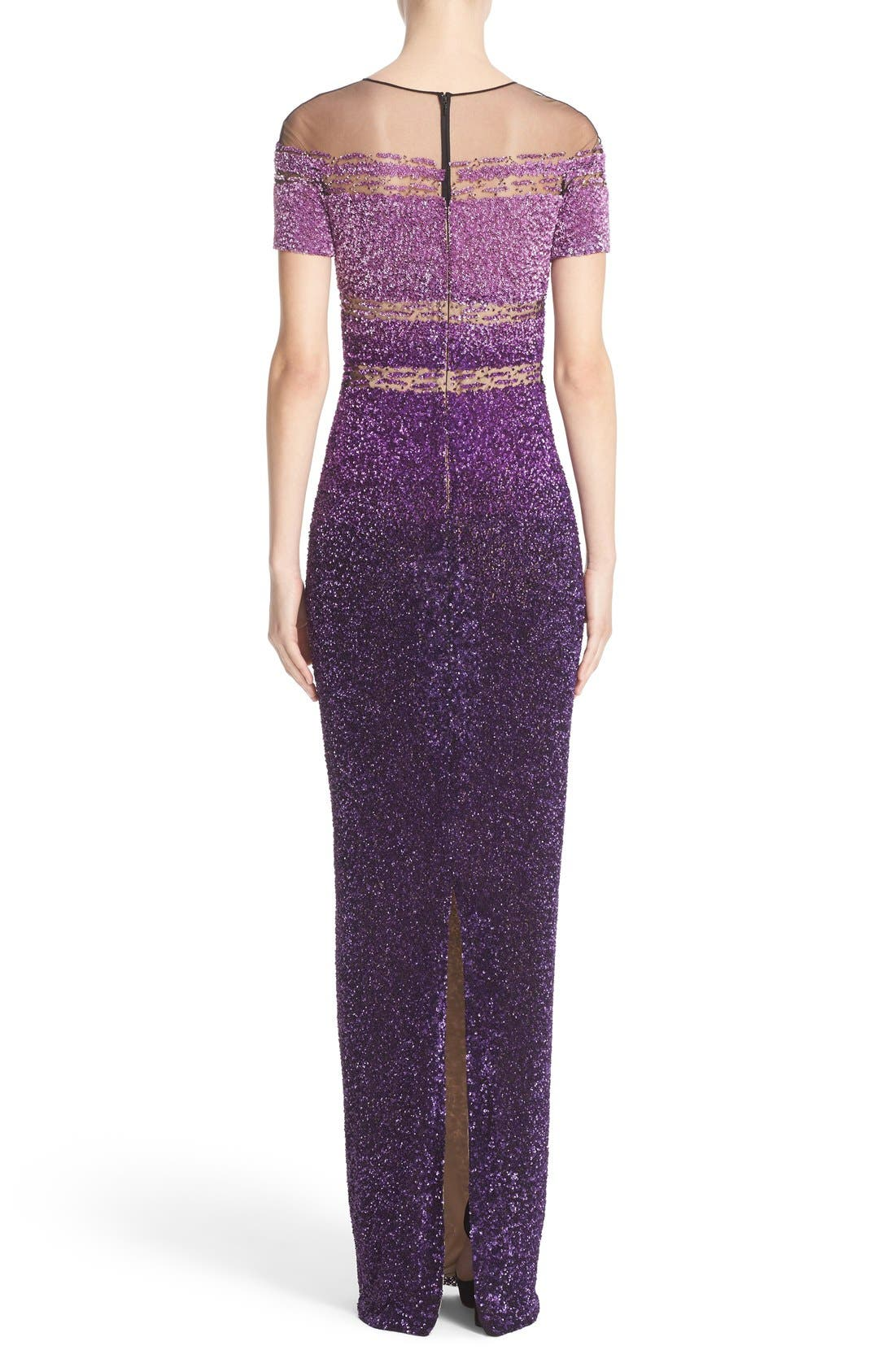 Alternate Image 2  - Pamella Roland Signature Sequin Short Sleeve Column Gown