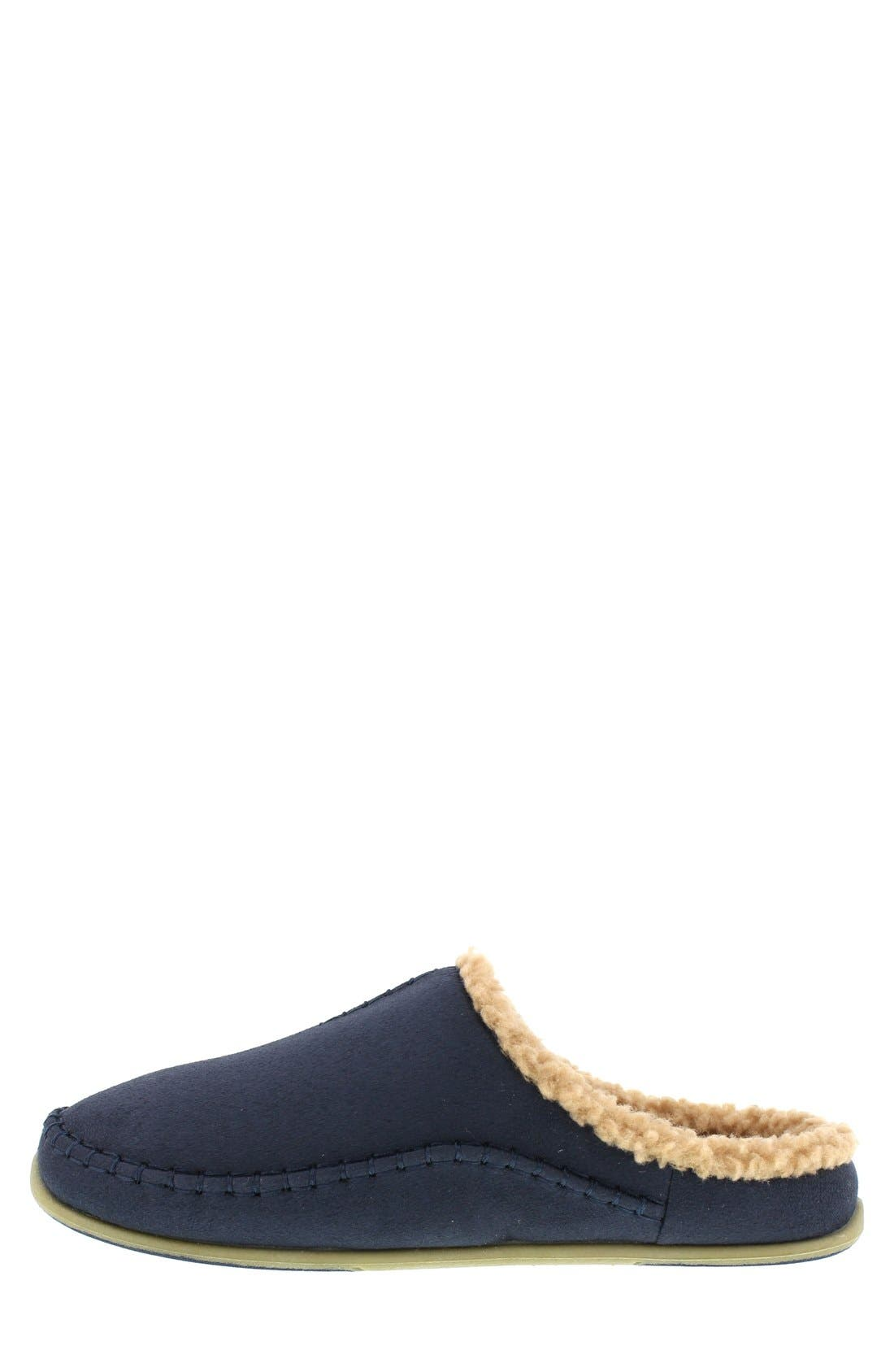 'Nordic' Slipper,                             Alternate thumbnail 2, color,                             Navy Microsuede