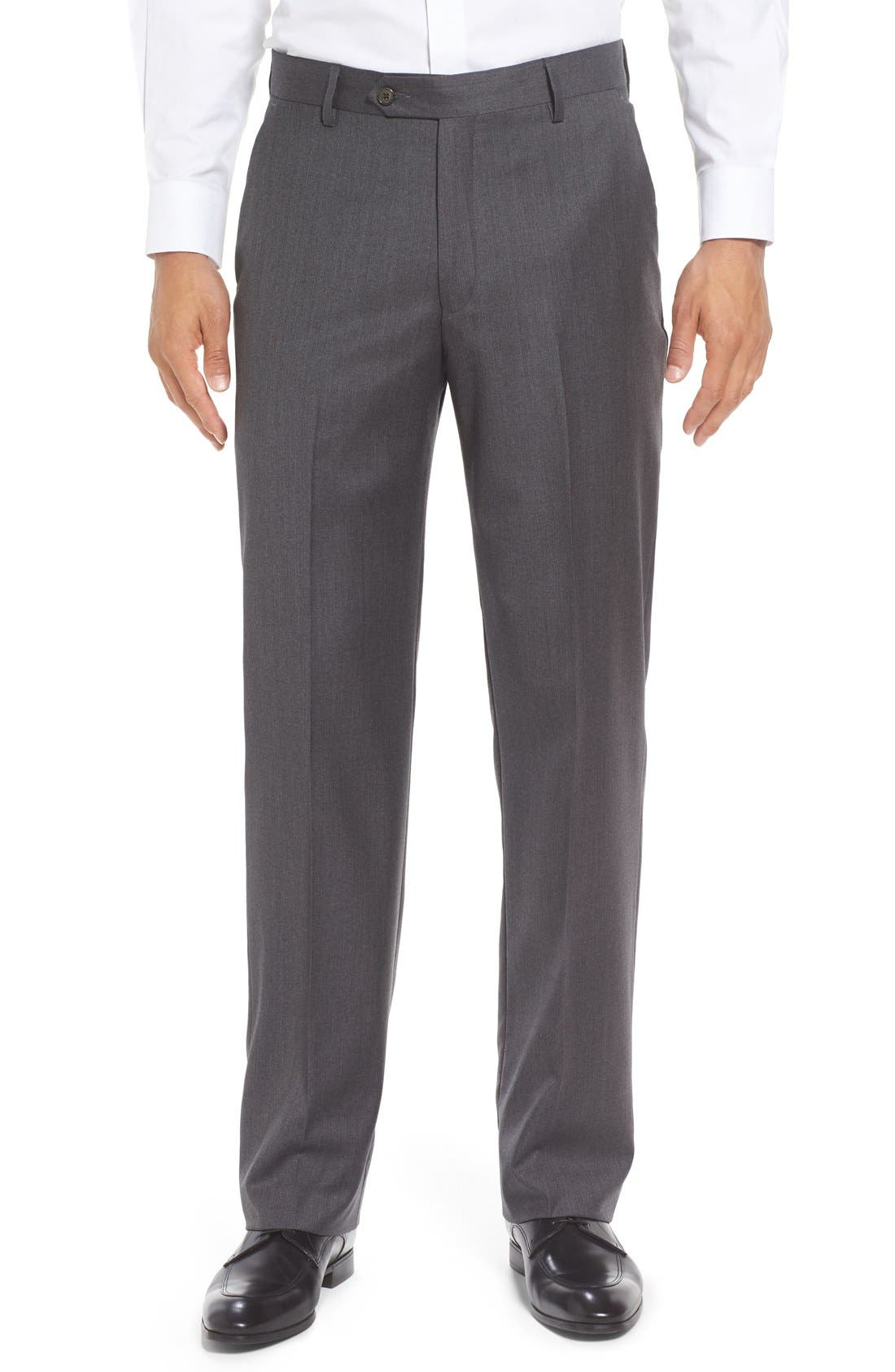 Flat Front Solid Wool Trousers,                         Main,                         color, Medium Grey