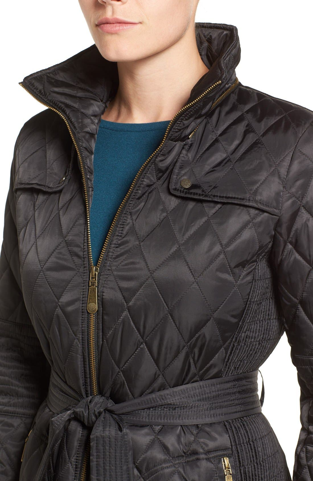Belted Mixed Quilted Coat with Detachable Hood,                             Alternate thumbnail 4, color,                             Black