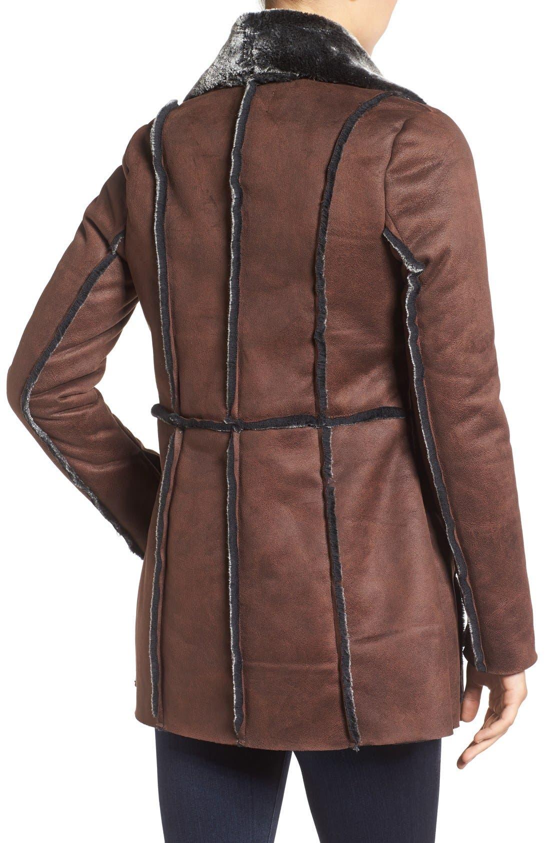 'Abigail' Faux Shearling Coat,                             Alternate thumbnail 2, color,                             Brown