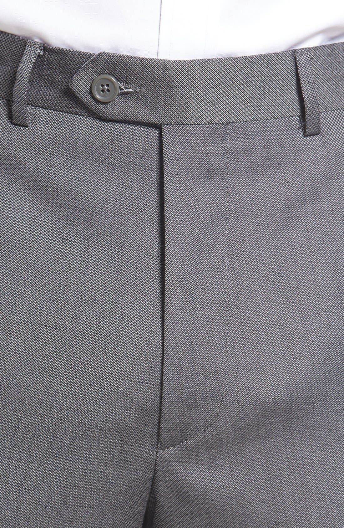 Flat Front Twill Wool Trousers,                             Alternate thumbnail 4, color,                             Medium Grey