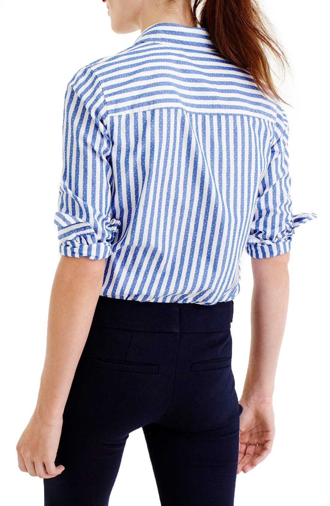 Alternate Image 2  - J.Crew Club Collar Jacquard Stripe Boy Shirt (Regular & Petite)