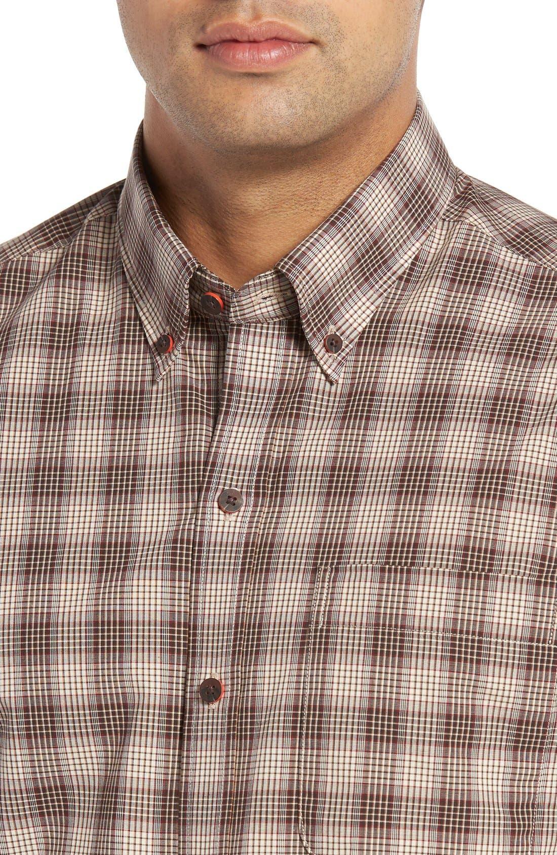 Alternate Image 4  - Cutter & Buck 'Ridge' Plaid Cotton Poplin Sport Shirt (Big & Tall)