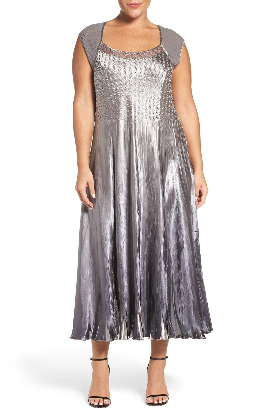 Alternate Image 3  - Komarov A-Line Dress & Lace Panel Jacket (Plus Size)